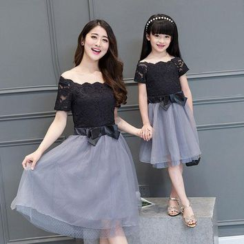 CREYWQA 2016 summer mother daughter dresses girls women maxi black wedding dress princess family look matching mother daughter clothes
