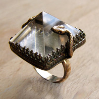 Handmade Snake Ring Memento Mori Rock Crystal Black Sterling Jewelry Victorian Gothic Day of the Dead Chase and Scout
