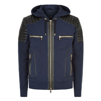 Biker Hoodie w/Quilted Leather Shoulder Panels by Balmain
