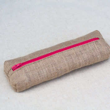 Natural burlap pencil case with bright pink zip