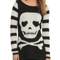 Jawbreaker Striped Skull Girls Sweater