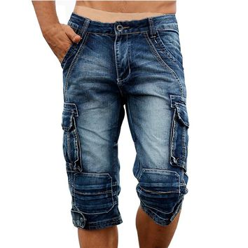Idopy Casual Men's Cargo Denim Shorts Retro Vintage Washed Slim Fit Jean Shorts Mulit-Pockets Military Biker Shorts For Men
