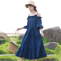 Japanese Sweet Mori Girl Lolita Slash Neck Strapless Big Swing Dress Women's Loose Size Casual Ruffles Cotton Dress Robe Vestido