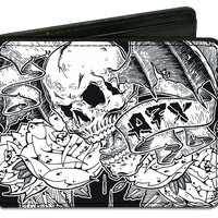 Avenged Sevenfold Men's Flying Deathbat & Skull Bi-Fold Wallet