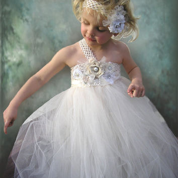 Ivory Flower Girl TuTu Dress by Jillybeantutus on Etsy
