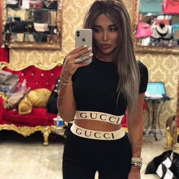 Gucci Women Shirt Top Tee Tight Pants Two-Piece