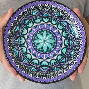 Hand painted plate - Wall hangings - Plaque - Wall plate - Decorative plates - Point : ceramic painted plates - pezcame.com