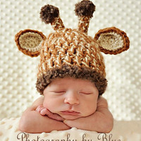 Newborn Baby Crochet Giraffe Hat with Removable Flower Photo Prop