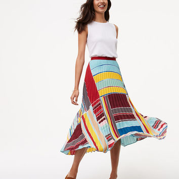 Cabana Pleated Maxi Skirt | LOFT