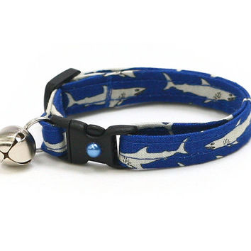 Shark Cat Collar - Great White Sharks on Blue- Kitten or Large Size
