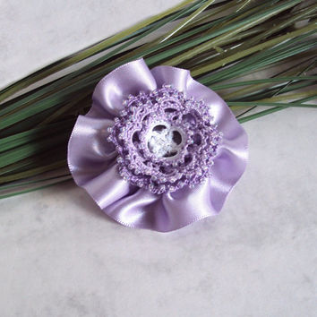 Tatted Flower Hair Clip / Brooch - Rosetta in lilac and white