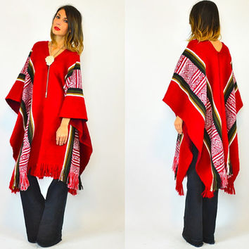 peruvian ALPACA fringed unisex BOHEMIAN blanket PONCHO, one size fits all