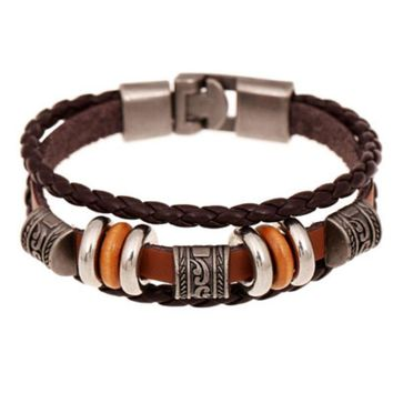 Retro Brown Leather Bracelet Men Punk Fashion Vintage Christmas Gift Stainless Steel Ethnic