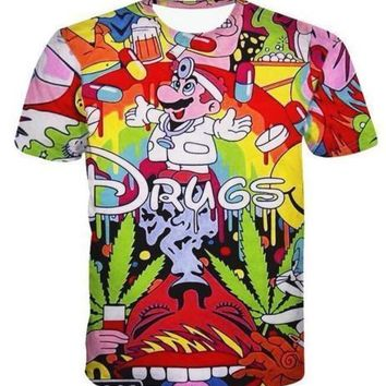 New Fashion Womens/Mens Cartoon Drugs Funny 3D Print T-Shirt BF41