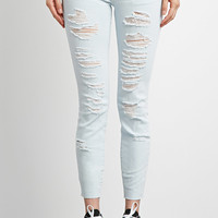 Low-Rise Destroyed Ankle Jeans