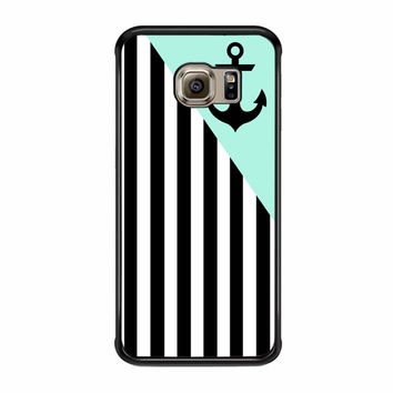 Triangle Stripes Mint With Anchor Samsung Galaxy S6 Edge Plus Case