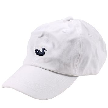 Hat in White with Navy Duck by Southern Marsh