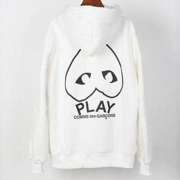 PLAY tide brand inverted plus velvet men and women hooded pullover sweater White
