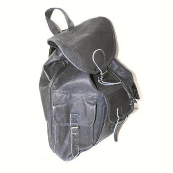 oversized black leather backpack 90s grunge unisex huge leather rucksack
