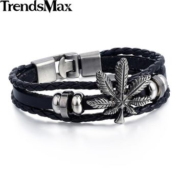 Trendsmax Womens Mens Bracelet Black 3 Strands Rope Handmade Leather Friendship Wristband Weed Leaf Charm Surfer LB683