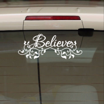 Believe with Vines Christian Vinyl Car Decal 22558