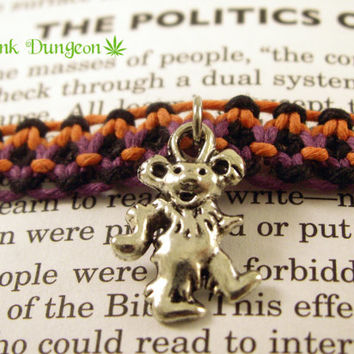 Halloween Hemp Bracelet, Orange Purple Black Dancing Bear Bracelet, Hemp Roach Clip Bracelet, Grateful Dead Hemp Bracelet, Hippie Bracelet