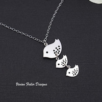 Mama Necklace 2 baby Bird Family Jewelry Mother Day Gift - Vivian Feiler Designs | Wedding Jewelry
