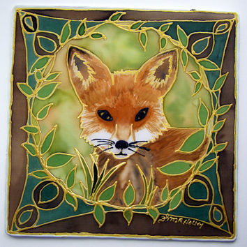 "Animal guide Mandala ""The Fox"", Made to Order, Shamanic art, meditation art, mandala art,animal totems, fox art, silk art"