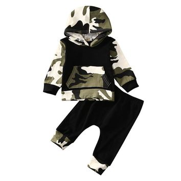 2016 Toddler Kids Baby Boy Clothes Fashion Camo Hoodie Tops Long Pants 2Pcs Outfits Bebek Giyim Clothing Set