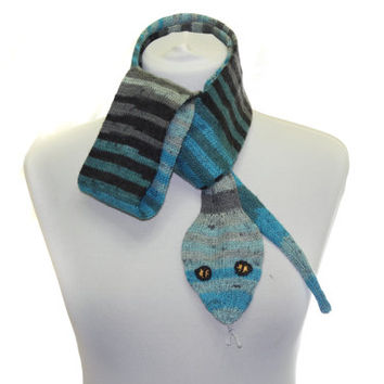 Snake Scarf /  Hand Knit Scarf / shades blue gray black  / animal scarf / halloween