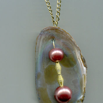 clam shell pearl chain necklace glass bead  bronze handmade nature beach jewelry