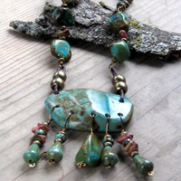 Turquoise Necklace Wire Wrapped Statement Necklace Bohemian Jewelry