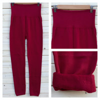 A High Waisted Fleece Lined Leggings in Burgundy