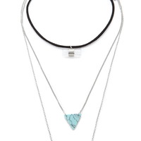 Faux Stone Choker Necklace Set