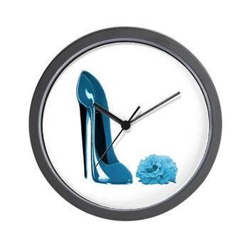 PERIWINKLE BLUE STILETTO SHOE WALL CLOCK