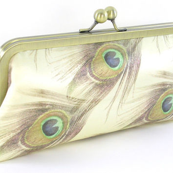 Ivory Peacock Feather Silk Clutch Handbag by BagBoy on Etsy