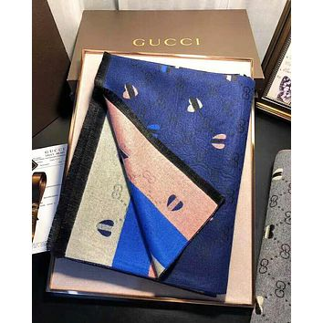 GUCCI New Trending Stylish Heart Pattern Warm Cashmere Cape Scarf Scarves Shawl Accessories
