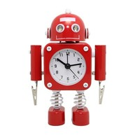 "Betus [Non-ticking] Robot Alarm Clock - High Quality Stainless Metal - Wake-up Clock with Flashing Eye Lights and Hand Clip - 4.3"" x 6.7"" x 1.6"" - Walmart.com"