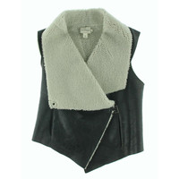 Pure DKNY Womens Leather Textured Vest