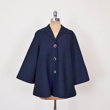 Navy Blue 60s Swing Jacket Trapeze Jacket Bell Sleeve Jacket 60s Jacket 60s Coat 60s Mod Jacket 60s Mad Men Jacket Women M Medium L Large