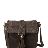 FOREVER 21 Suede Fringed Crossbody Bag Brown One