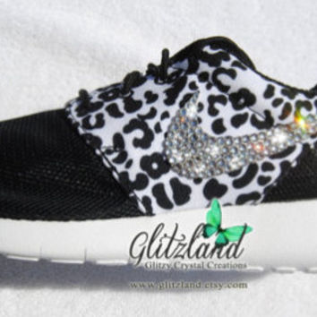 Blinged Black & White Girls' / Women's Nike Roshe Run