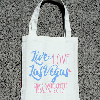 Live Love Las Vegas Bachelorette Party Getaway Totes- Wedding Welcome Tote Bag