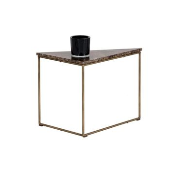 TURBINE ANTIQUE BRASS STEEL FRAME WITH SOLID BROWN MARBLE TOP END TABLE