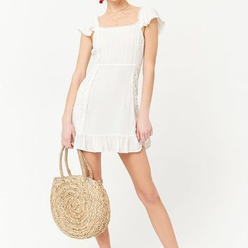 Pintuck Pleat Lace Panel Dress