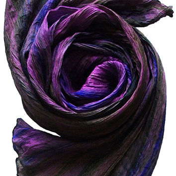 Hand Dyed Watercolor Silk Scarf in Purple/Olive