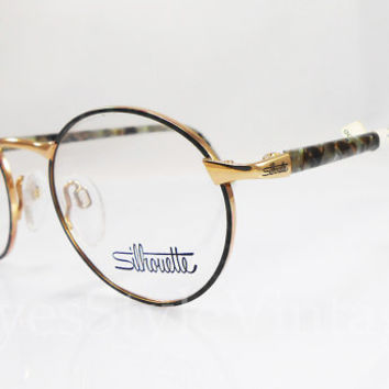 Silhouette, New Old Stock, Rare, Vintage, Round, Camouflage, Green Mosaic, Gold, Eyeglasses, Sunglass, Unisex, Frames