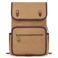 EcoCity Vintage Bookbags Canvas Backpack School College Back pack