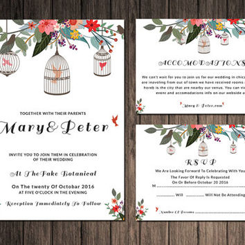 Wedding Invitation Template | Wedding Invitation Suite | Editable With Microsoft Word | Instant Download | I-073