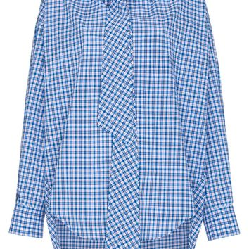 Blue Check Deconstructed Logo Shirt by Balenciaga